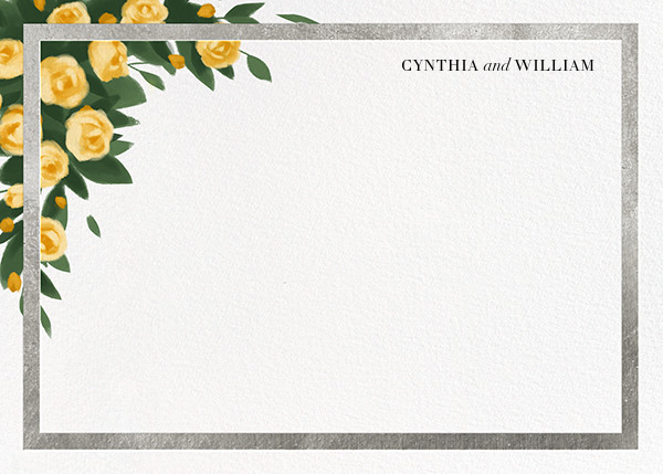 Teablossom (Stationery) - Silver/Yellow - Paperless Post - Personalized stationery