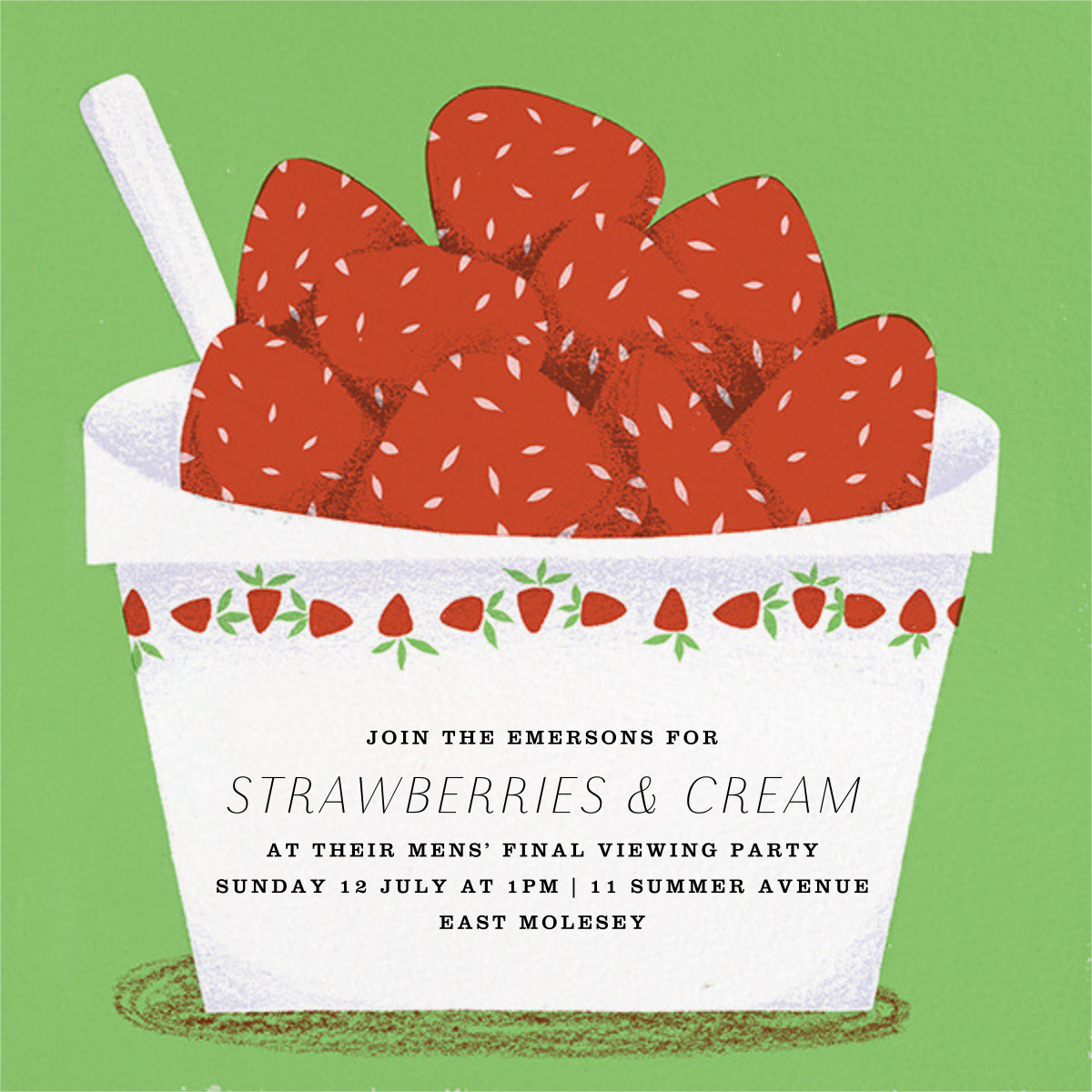 Strawberries and Cream - Paperless Post - Spring entertaining
