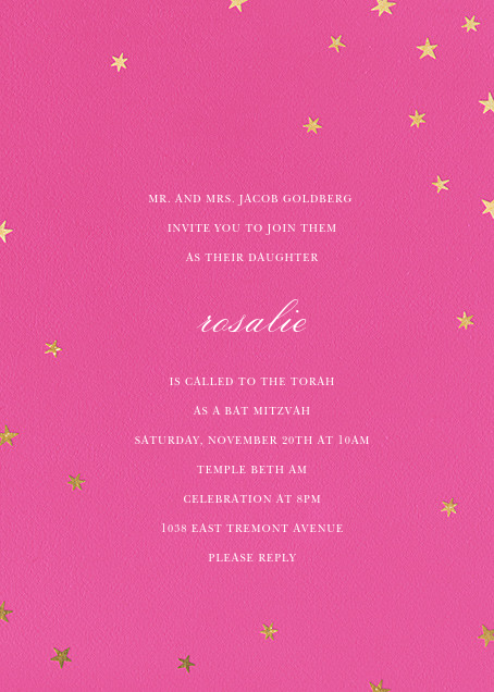 Nightly (Tall) - Bright Pink/Gold - Paperless Post - Bat and bar mitzvah