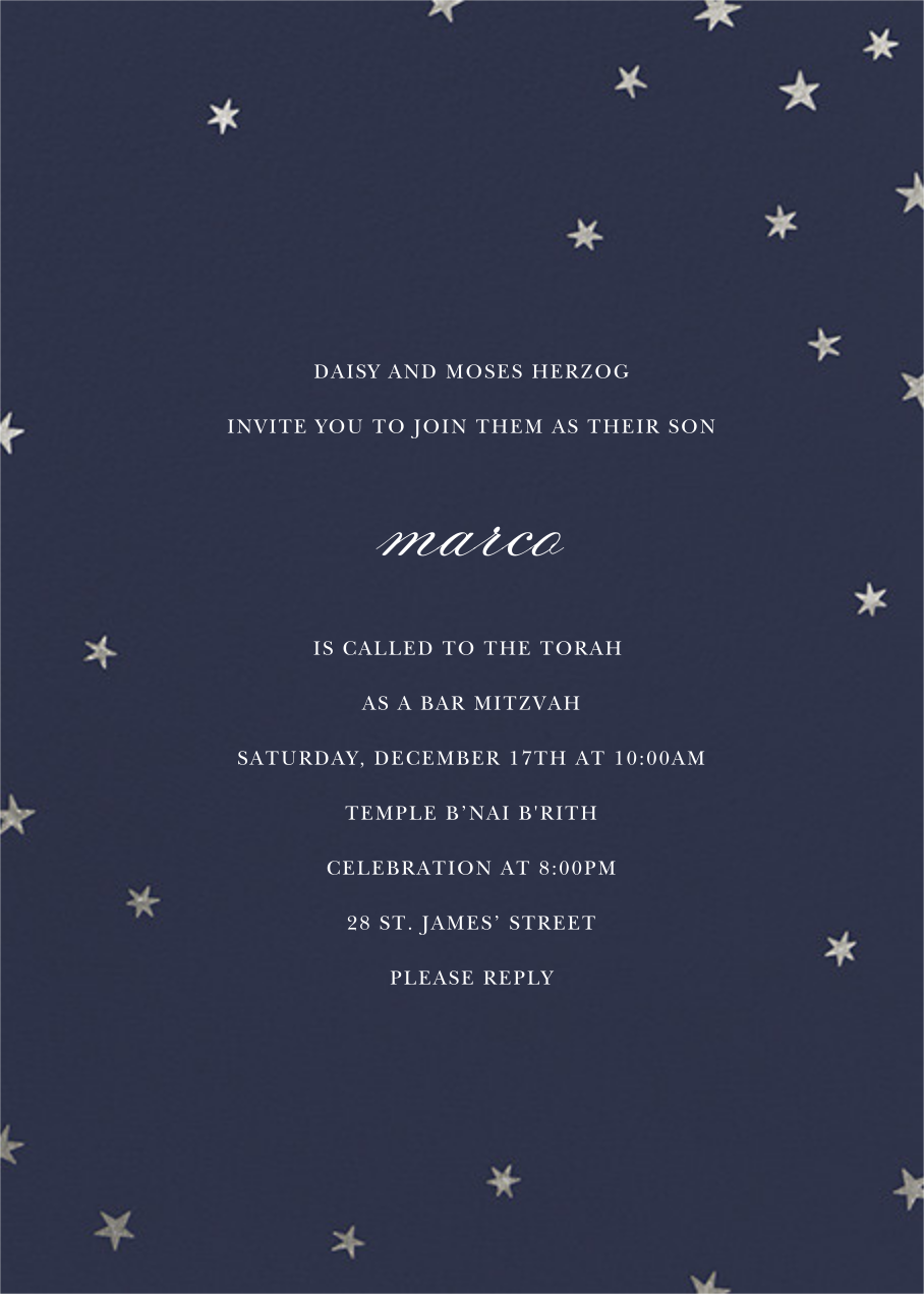 Nightly (Tall) - Navy/Silver - Paperless Post - Bat and bar mitzvah