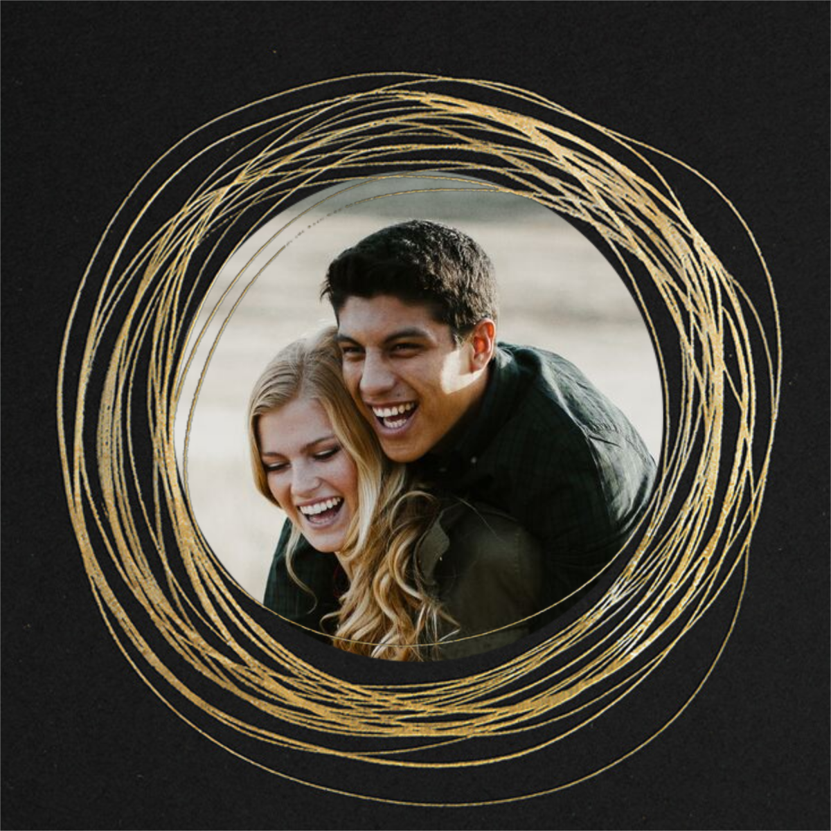 Winter Wreath (Save the Date) - Black/Gold - Paperless Post - Photo