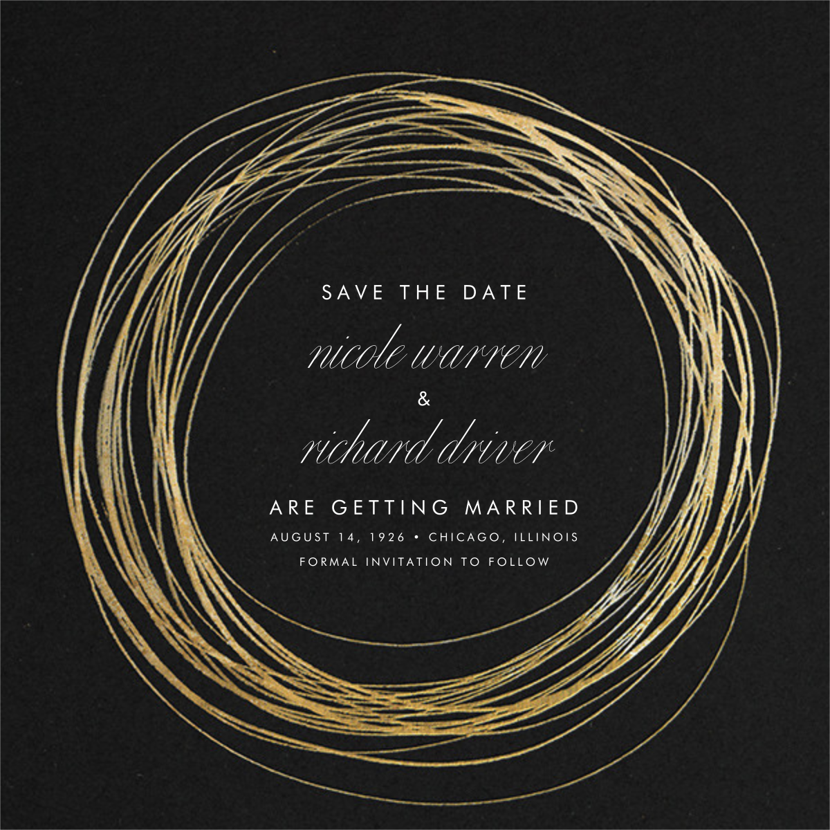 Winter Wreath (Save the Date) - Black/Gold - Paperless Post - Photo  - card back