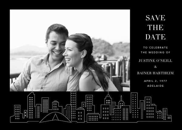 Melbourne Skyline View (Photo Save the Date) - Black/White - Paperless Post - Photo