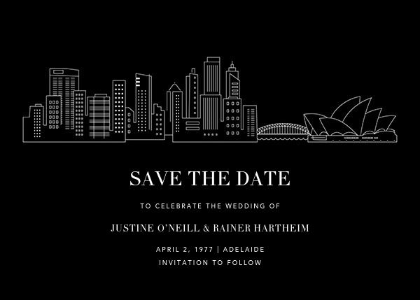 Sydney Skyline View (Save the Date) - Black/White - Paperless Post - Save the date