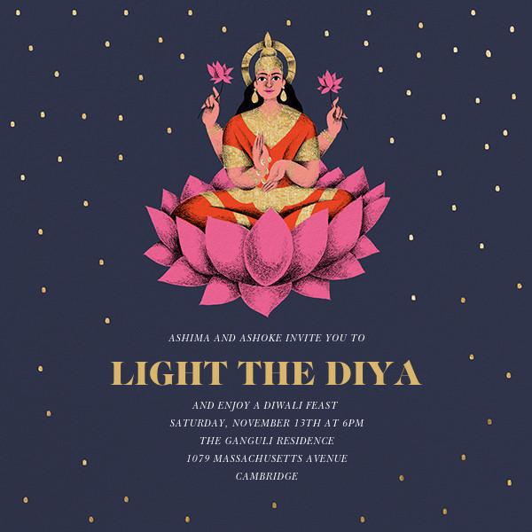 Lakshmi Lotus (Invitation) - Paperless Post - Diwali