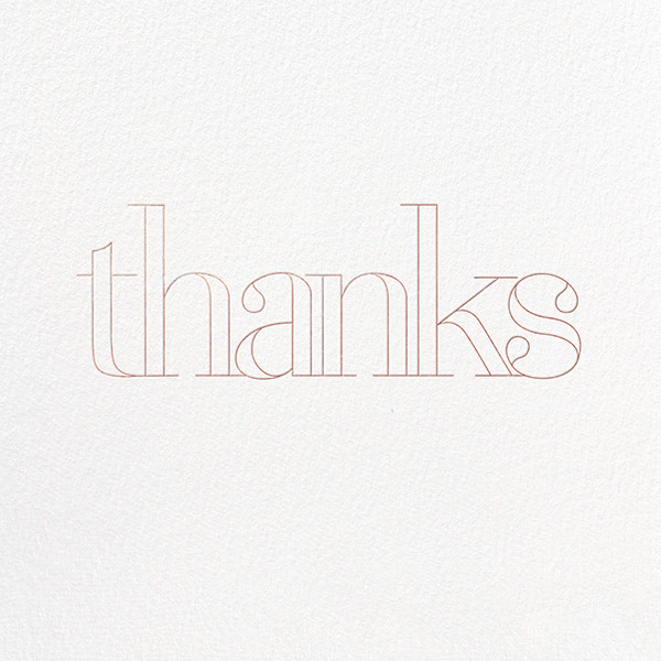 Grace and Gratitude (Thanks) - Rose Gold - Paperless Post - Thank you