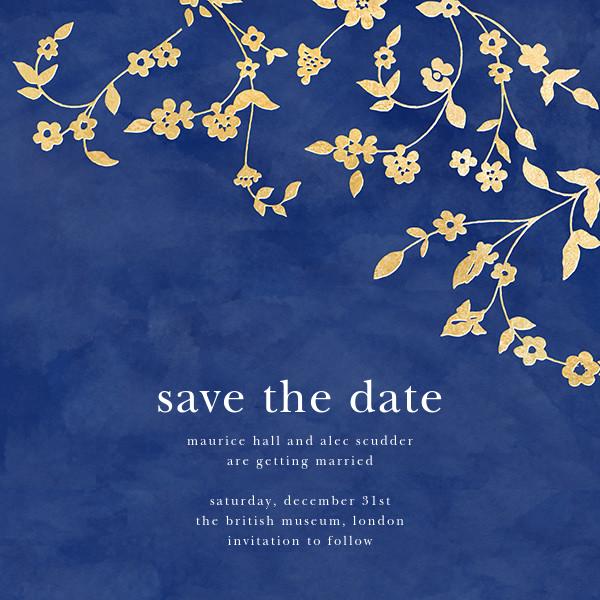Floral Trellis (Save the Date) - Blue/Gold - Oscar de la Renta - Save the date