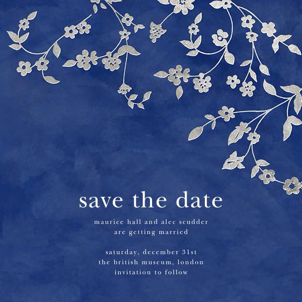 Floral Trellis (Save the Date) - Blue/Silver - Oscar de la Renta