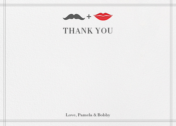 Mr. Stache and Ms. Lips (Wedding Stationery) - Gray - Jonathan Adler - Wedding