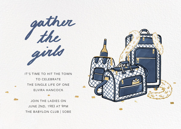Gather the Girls - Navy - Paperless Post - Bachelorette party