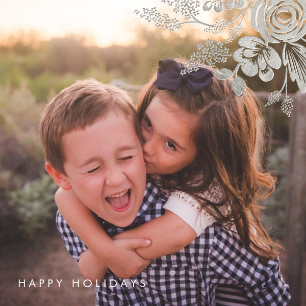 Heather and Lace (Square Photo) - Silver - Rifle Paper Co. - Holiday cards