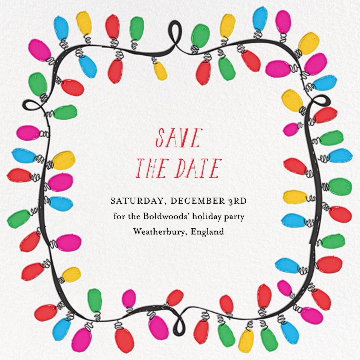 This Line is Tangled - Mr. Boddington's Studio - Holiday save the dates