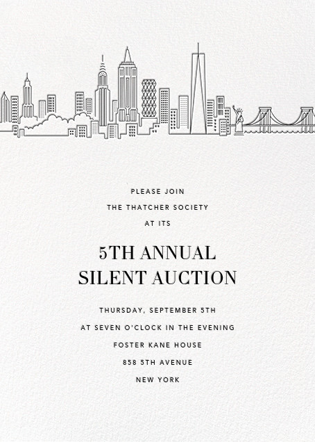 Manhattan Skyline View (Invitation) - White/Black - Paperless Post - Charity and fundraiser