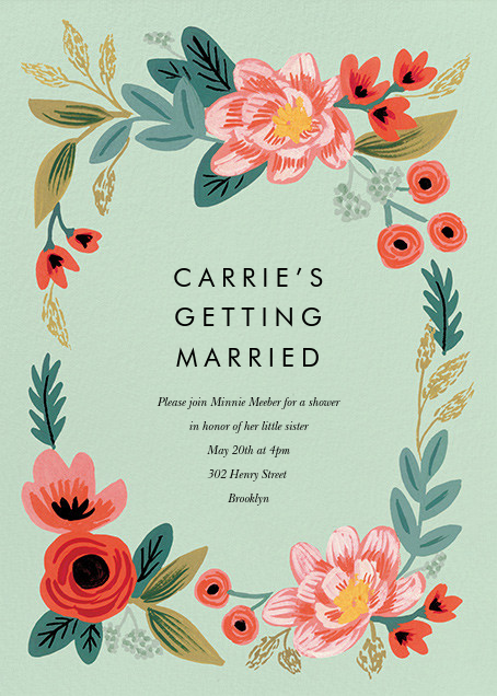 Woven Wildflowers - Green - Rifle Paper Co. - Bridal shower