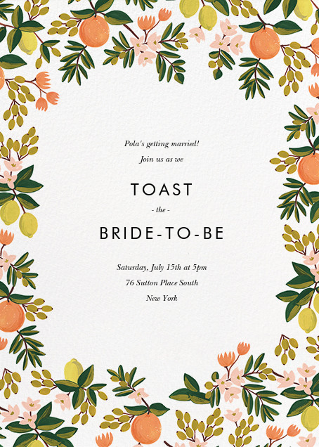 Citrus Orchard Suite (Invitation) - White - Rifle Paper Co. - Bridal shower