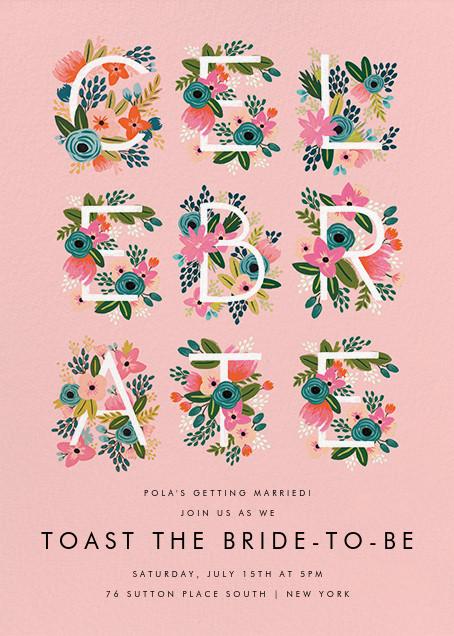 Monogrammed Celebration - Pink - Rifle Paper Co. - Bridal shower