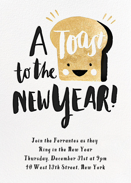 new years toast invitation online at paperless post