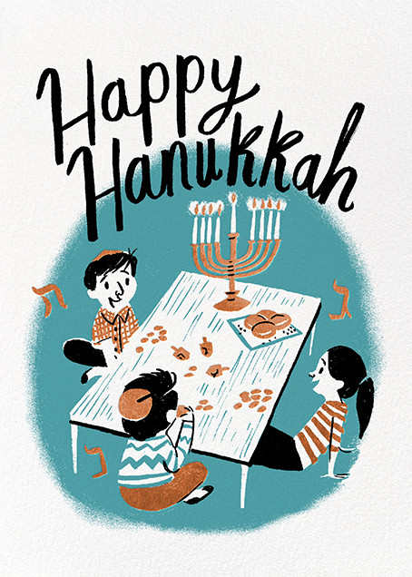 Family Hanukkah (Nicholas John Firth) - Red Cap Cards - Hanukkah