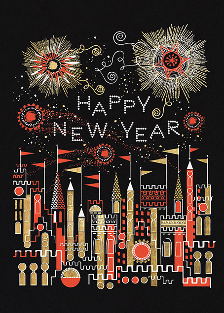 Golden Fireworks (Lesley Barnes) - Red Cap Cards - New Year