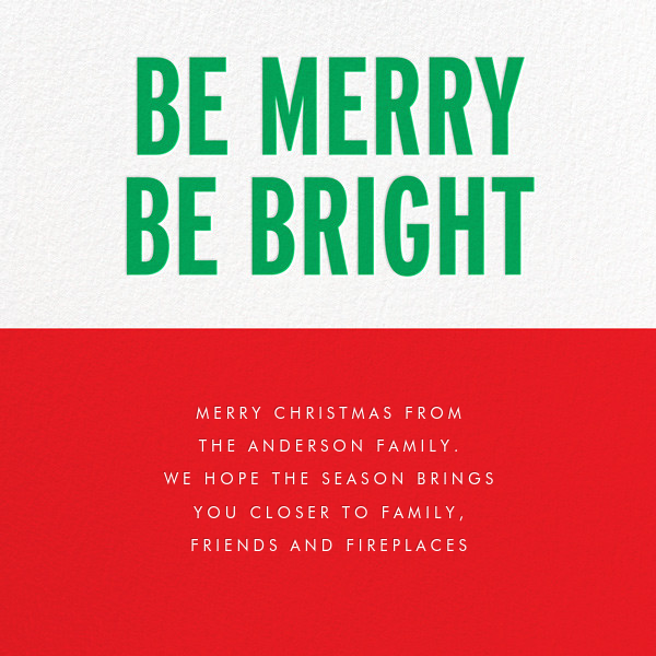 Be Merry Be Bright (Greeting) - Green - kate spade new york - Holiday cards