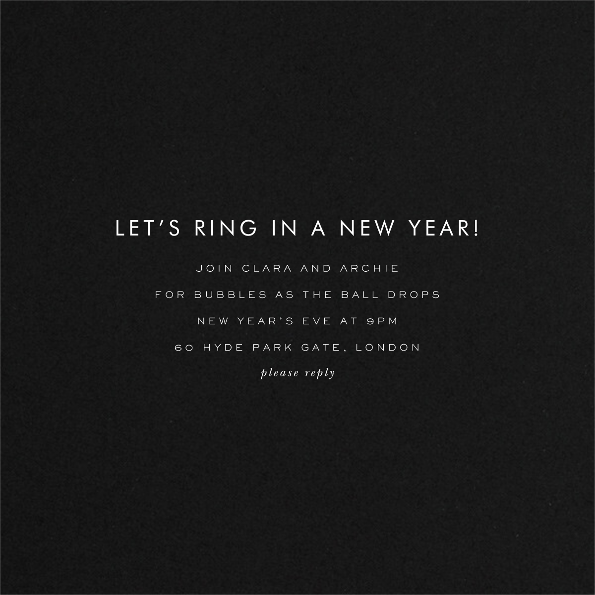 Confetti New Year (Invitation) - Silver/Black - kate spade new york - New Year's Eve - card back