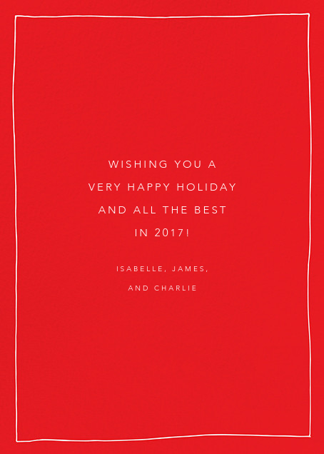 Cursive Merry (Tall) - Red - Linda and Harriett - Holiday cards - card back