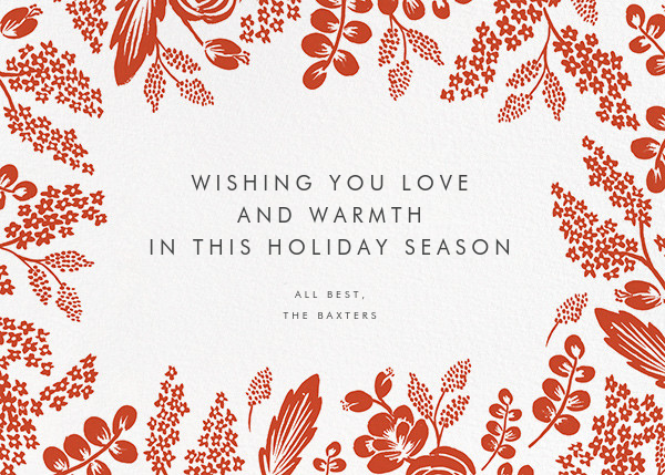 Heather and Lace (Horizontal Frame) - Red/Gold - Rifle Paper Co. - Holiday cards - card back