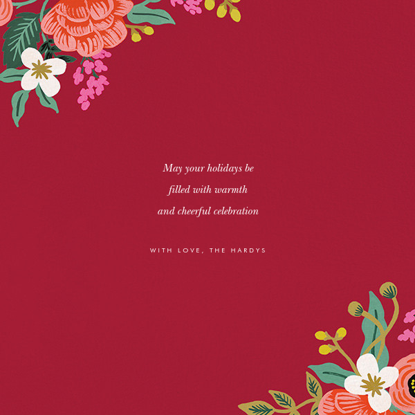 Birch Monarch Suite (Square Photo) - Red - Rifle Paper Co. - Holiday cards - card back