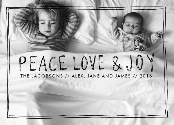 Peace Love Joy Frame - Black - Linda and Harriett - New Year