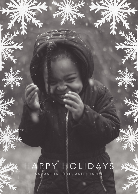 Silhouette Snowflakes (Tall) - Linda and Harriett - Holiday cards