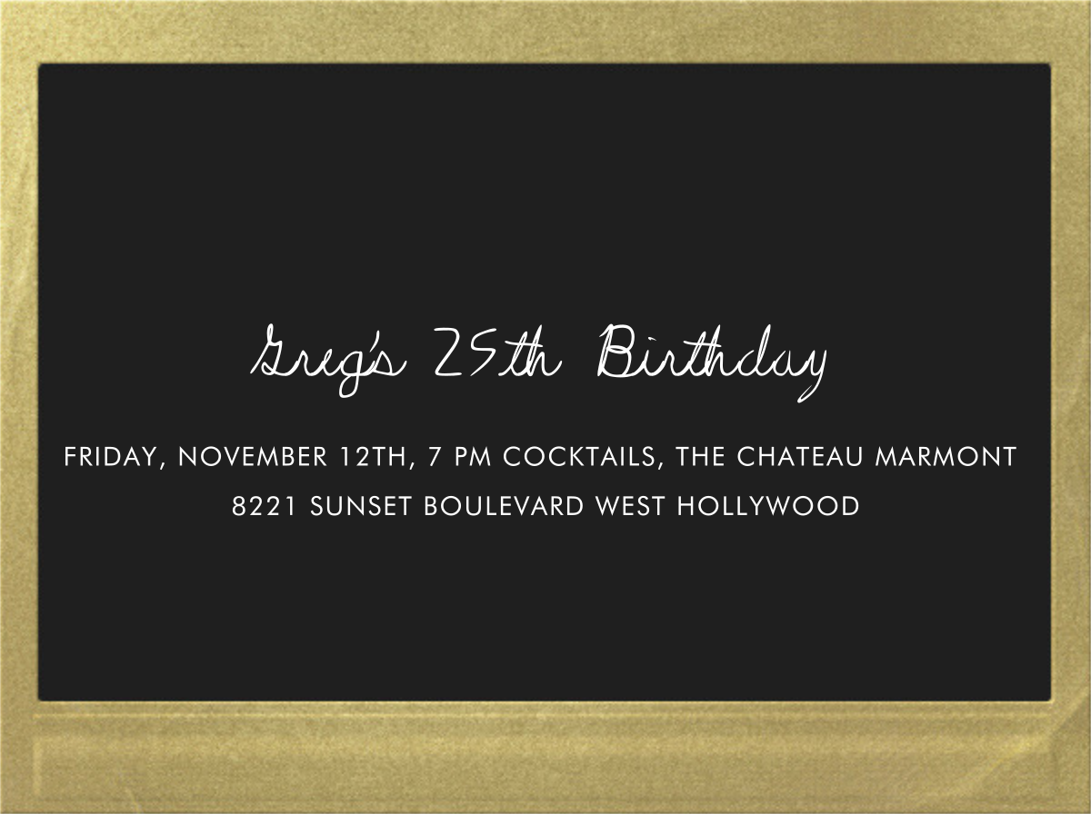 Snapshot Gold (Double Sided) - Horizontal - Paperless Post - Adult birthday - card back