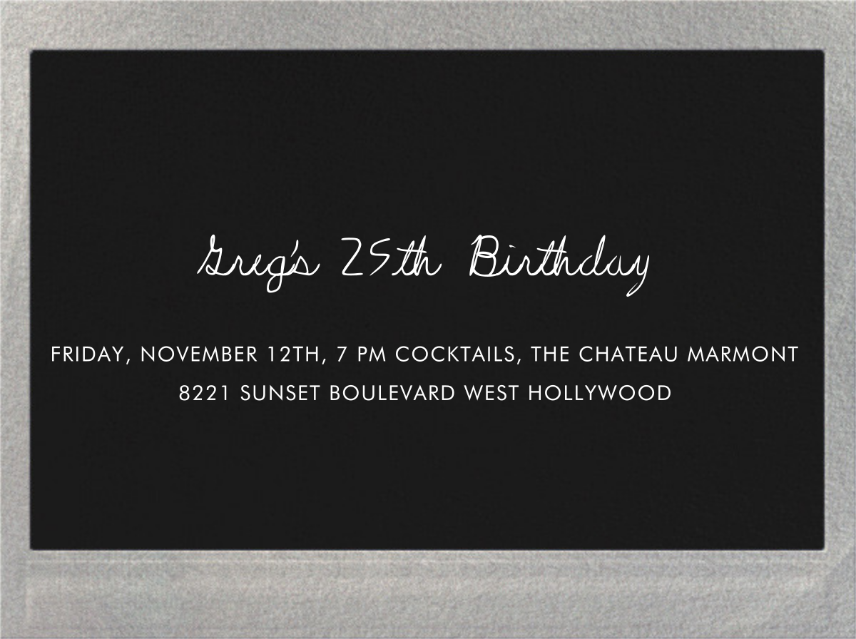 Snapshot Silver (Double Sided) - Horizontal - Paperless Post - Adult birthday - card back