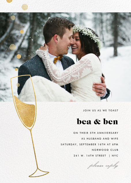 Champagne Bubbles (Photo) - Gold - Paperless Post - Anniversary party