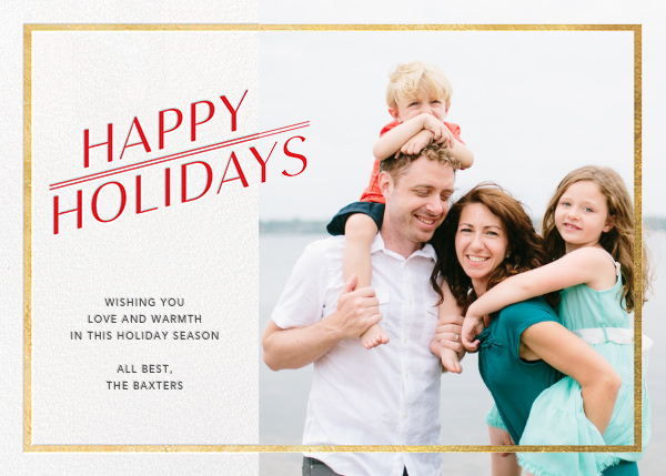 Red-Letter Holiday - Gold - Paperless Post - Holiday cards