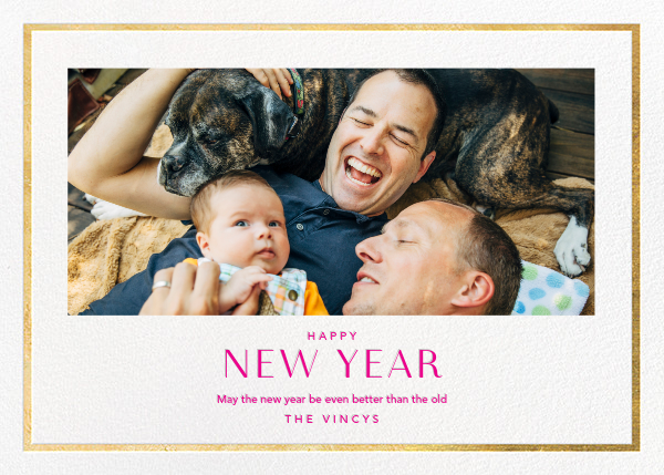 New Year Finestra (Horizontal) - White/Gold - Paperless Post - New Year