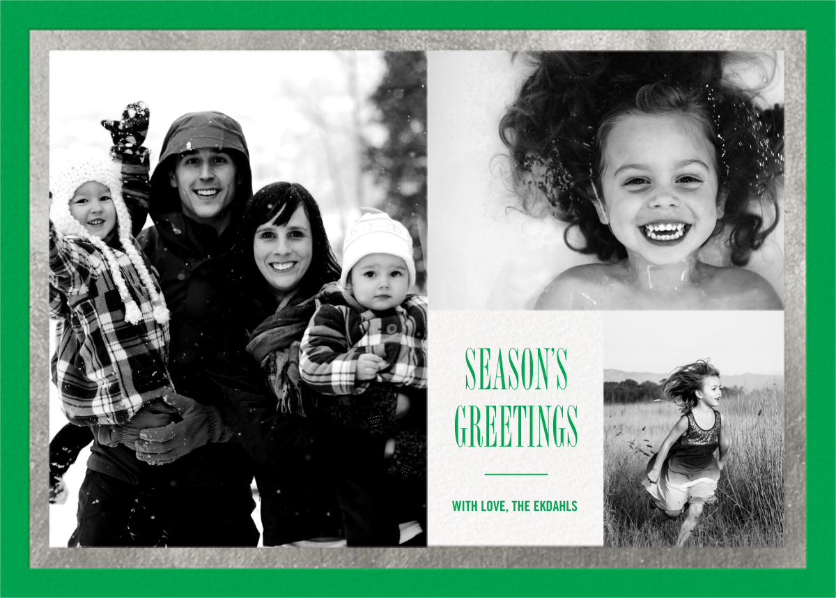 Bordure - Emerald/Silver - Paperless Post - Holiday cards
