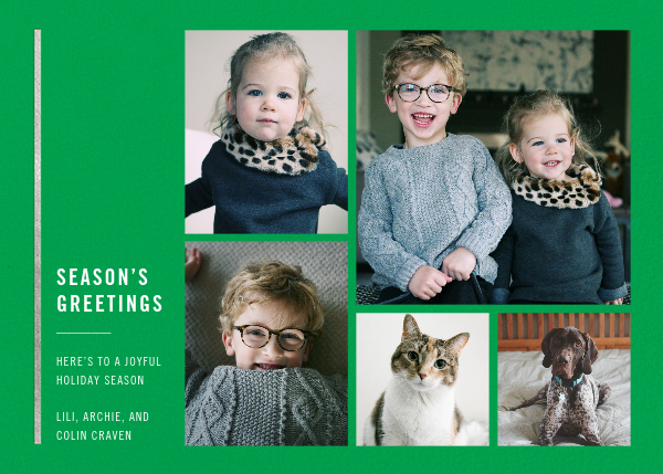 Carreaux (Multi-Photo) - Emerald/Silver - Paperless Post - Holiday cards