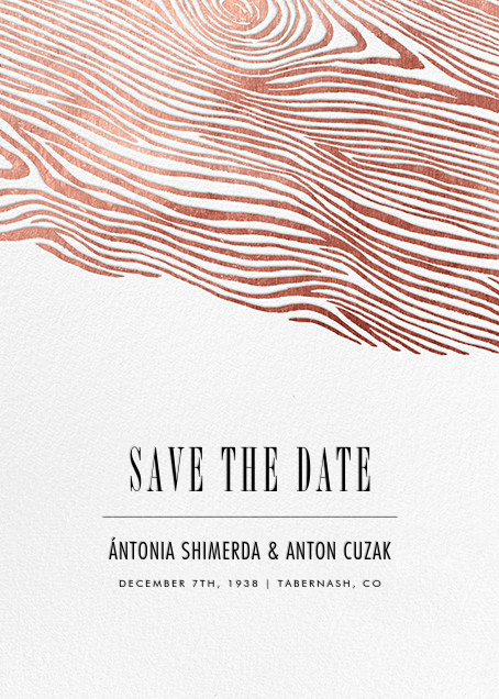 Burlwood II (Tall Save the Date) - Rose Gold - Paperless Post - Party save the dates