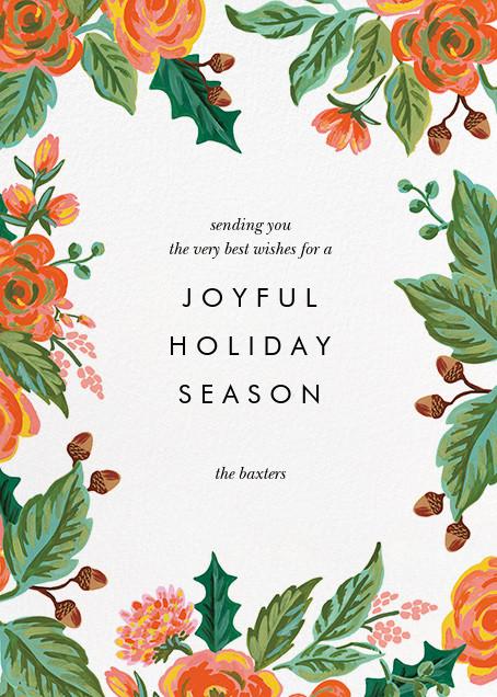 Jardin Noel Border (Portrait Photo) - White - Rifle Paper Co. - Holiday cards - card back