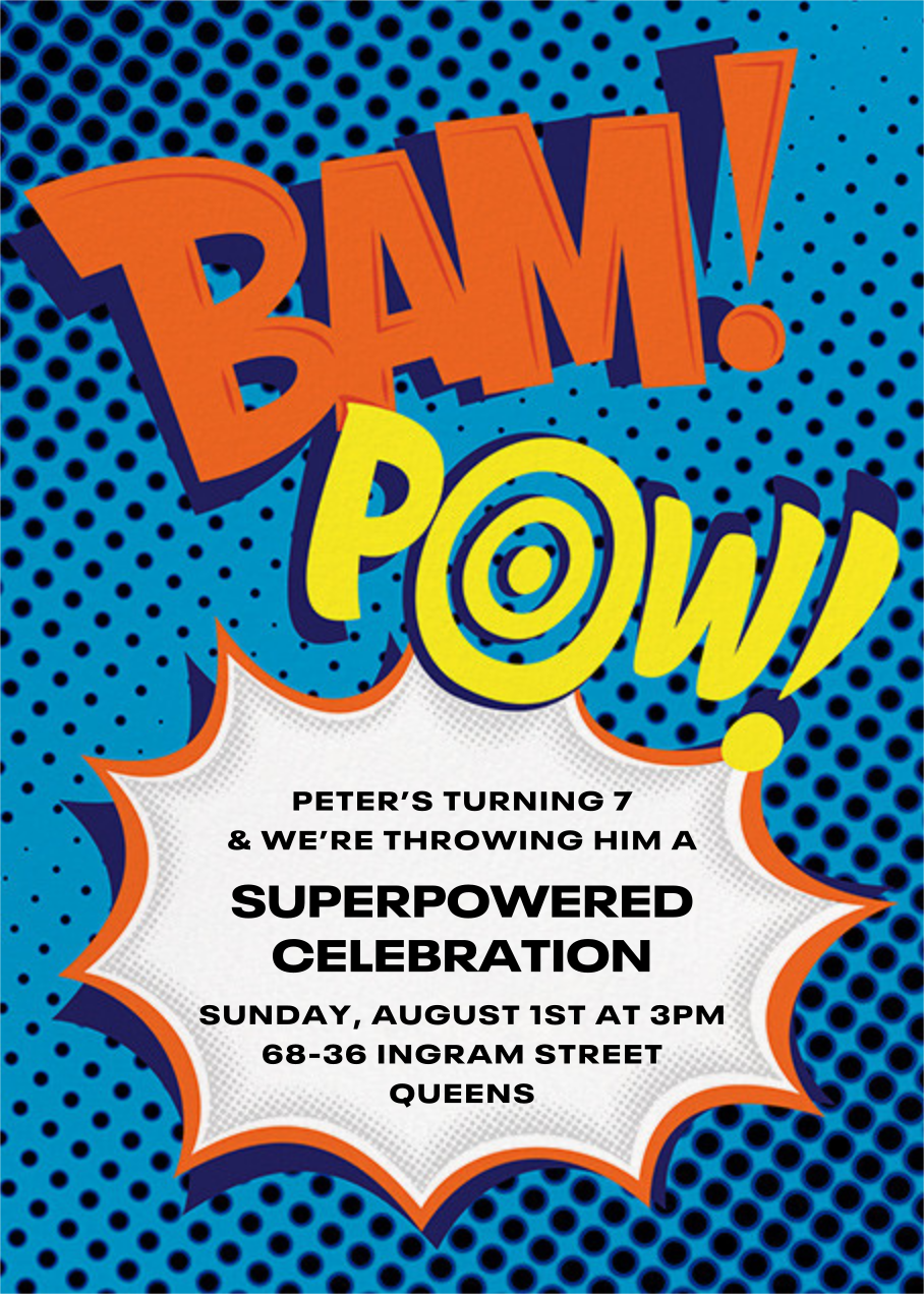 Bam Bam Pow - Blue - Paperless Post - Kids' birthday