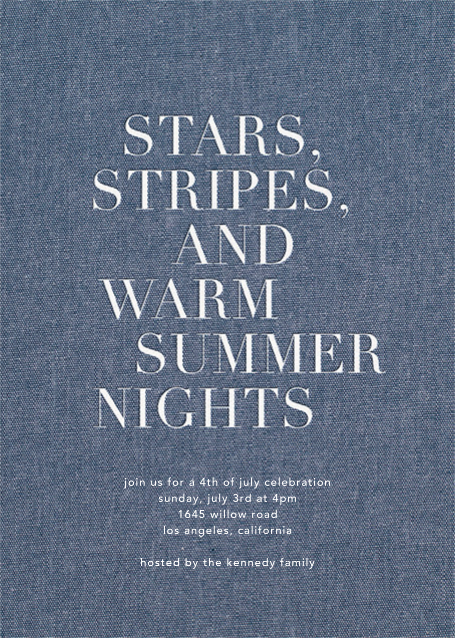 Summer Denim - Sugar Paper - Summer entertaining