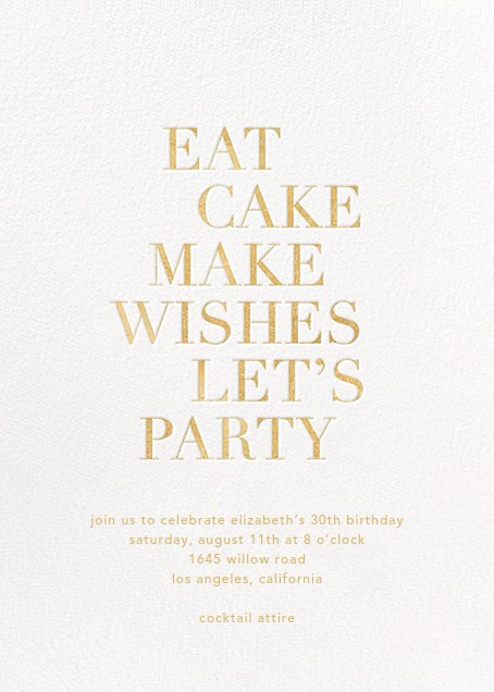 Eat Cake Make Wishes - White/Gold - Sugar Paper - Adult birthday