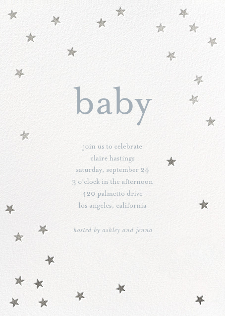 Scattered Stars - White/Silver - Sugar Paper - Baby shower