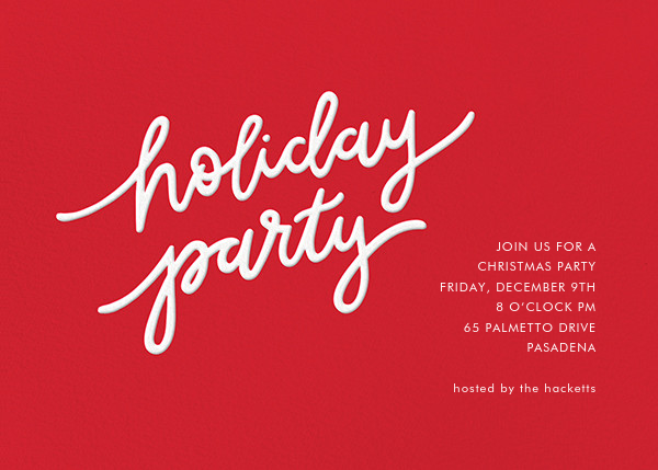 Holiday Script - Red/White - Sugar Paper - Christmas party