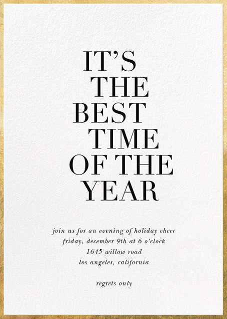 Best Time of the Year - White - Sugar Paper - Winter entertaining