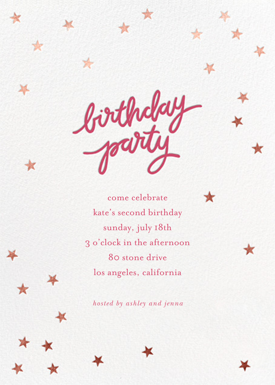 Birthday Stars - Rhubarb/Rose Gold - Sugar Paper - Kids' birthday