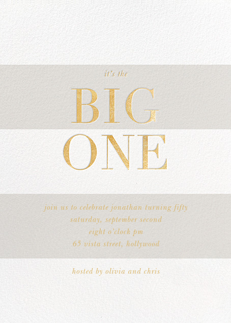 The Big One - Gold - Sugar Paper - 50th birthday invitations