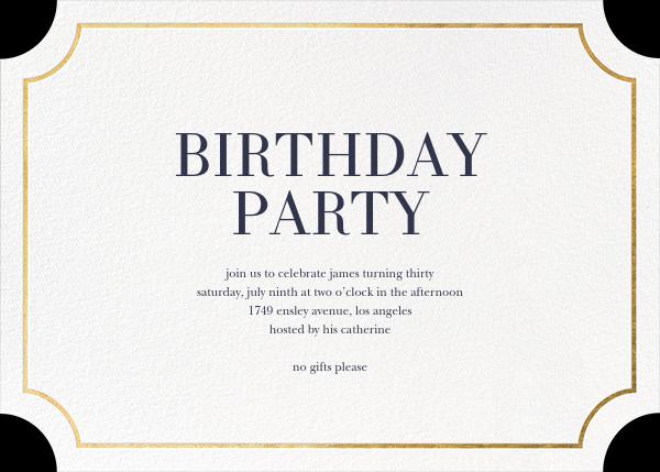 Roosevelt (Horizontal) - Gold - Sugar Paper - Adult birthday