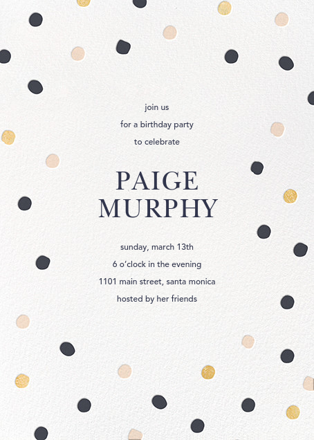 Painted Spots - Navy/Gold/Pink - Sugar Paper - Adult birthday