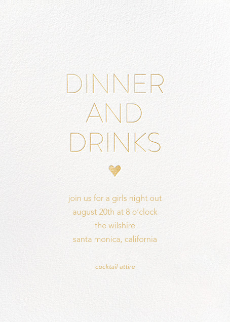 Dinner and Drinks - White - Sugar Paper - Dinner party